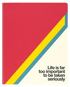 """Muistikirja, paperi valmistettu kivestä. Pehmeäkantinen. Iso. """"Life Is"""". Tyhjät sivut."""