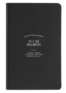 Muistikirja, paperi valmistettu kivestä. Pehmeäkantinen. Pienikokoinen. Musta. Viivoitetut sivut.